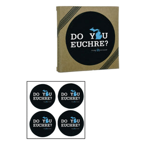 Pure Michigan Do You Euchre recycled rubber coasters 4 pack