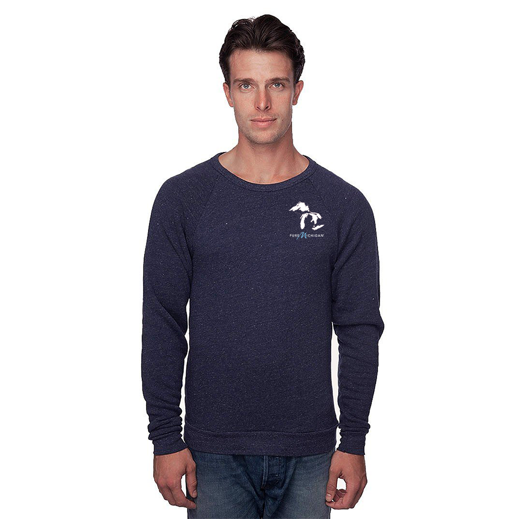 Unisex Triblend Fleece Crew Navy Raglan with Great Lakes Design