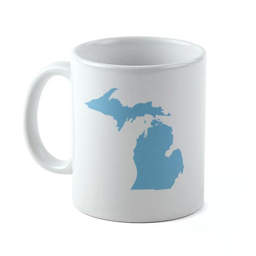 11 oz. Pure Michigan White Coffee Mug with Blue State of MI Graphic