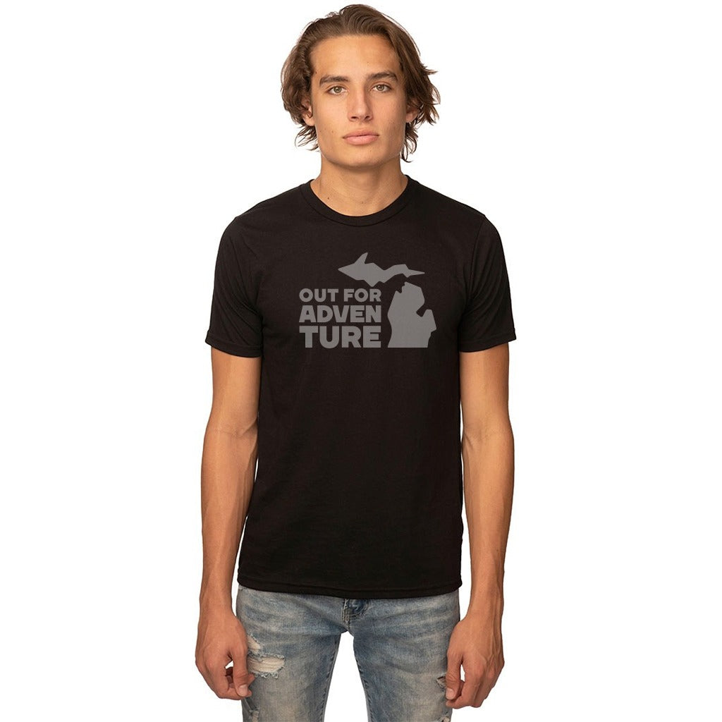 Black 50/50 Blend T-Shirt Front with Out For an Adventure Graphic