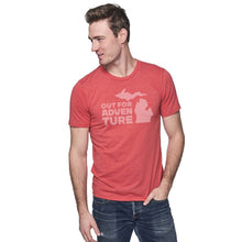 Load image into Gallery viewer, Cardinal 50/50 Blend T-Shirt Front with Out For an Adventure Graphic