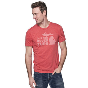 Cardinal 50/50 Blend T-Shirt Front with Out For an Adventure Graphic