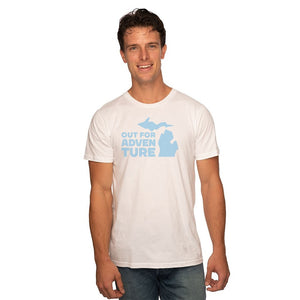 White 50/50 Blend T-Shirt Front with Out For an Adventure Graphic