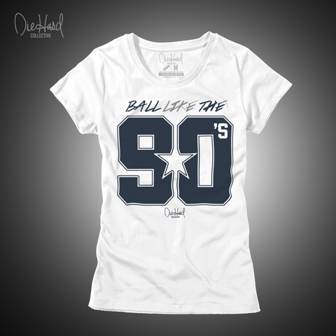 Ball Like the 90s (Women's White T-Shirt) Color Rush