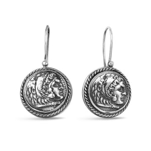 Silver Ancient Coin Earrings