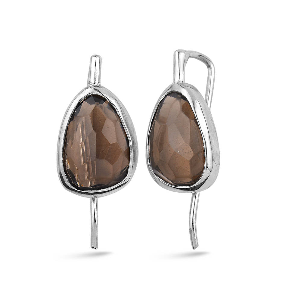 Silver Flat Smokey Quartz Earrings