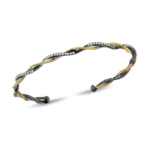 Silver Twisted Wire Two Tone  Bracelet