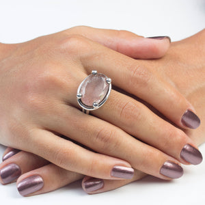 Silver Strawberry Quartz Ring