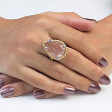 Load image into Gallery viewer, Silver Strawberry Quartz  Ring Rose Gold