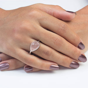Silver Rose Quartz Ring Rhodium