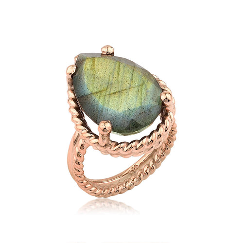 Twisted Wire Silver Labradorite Rose Gold Ring