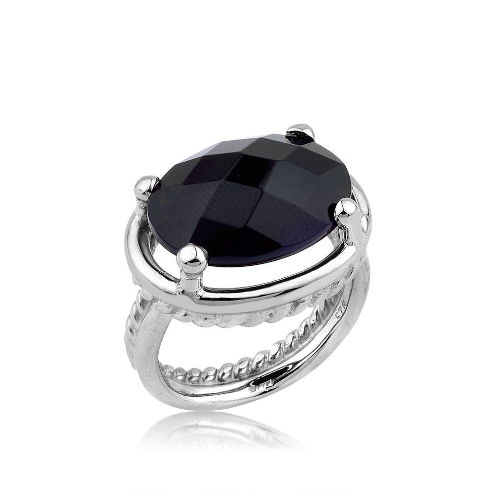 Twisted Wire Black Onyx Silver Ring