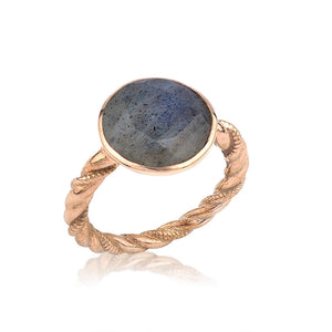 Silver Twisted Wire Round Labradorite Ring