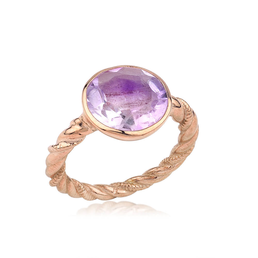 Silver Amethyst Rose Gold Ring