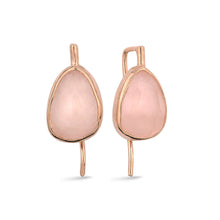 Load image into Gallery viewer, Silver Rose Quartz Earrings Rose Gold