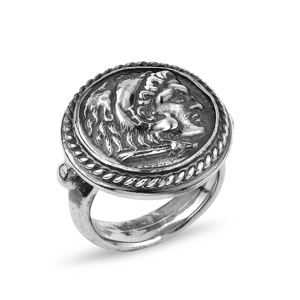 Silver Handmade Ancient Replica Coin Ring