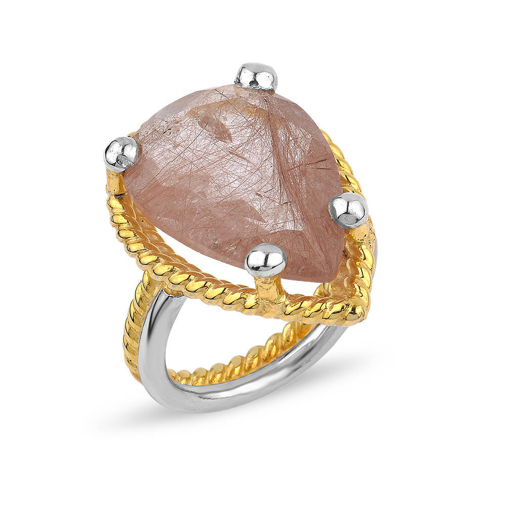Silver Strawberry Quartz  Ring Rose Gold