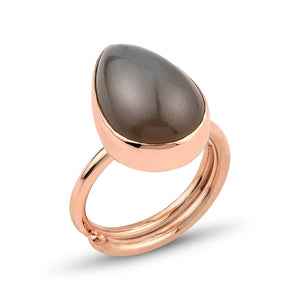 Beige Moonstone Silver Ring