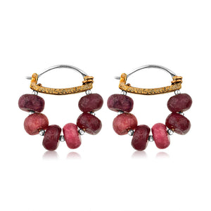 Sterling Silver Ruby Hoop Earrings