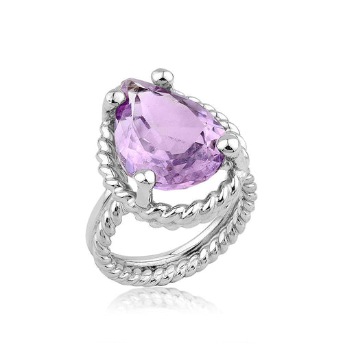 Twisted Wire Amethyst Silver Ring