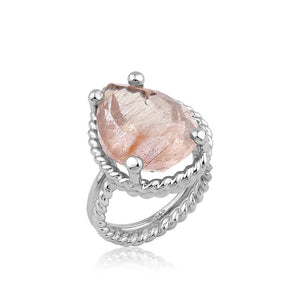 Twisted Wire Silver Strawberry Quartz Ring