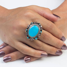 Load image into Gallery viewer, Turquoise Ring with Rubies