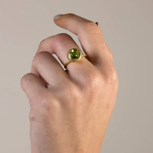 Silver Peridot Solitaire Ring Gold Rin