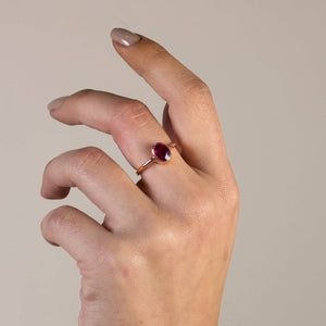 Silver Natural Ruby Solitaire Ring