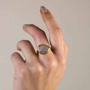 Silver Flat Golden Moonstone Ring  Gold Plated