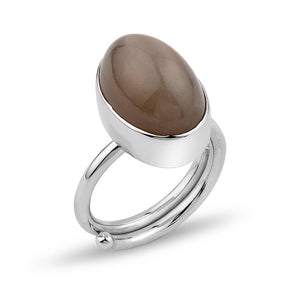 Wheat Moonstone Silver Adjustable Ring