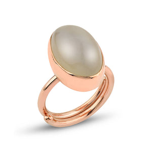 Gray Moonstone Silver Adjustable Ring Rose Gold Plated