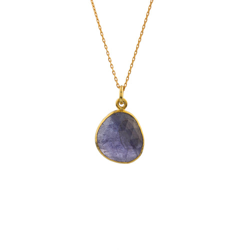 Silver Tanzanite Pendant Rose Gold