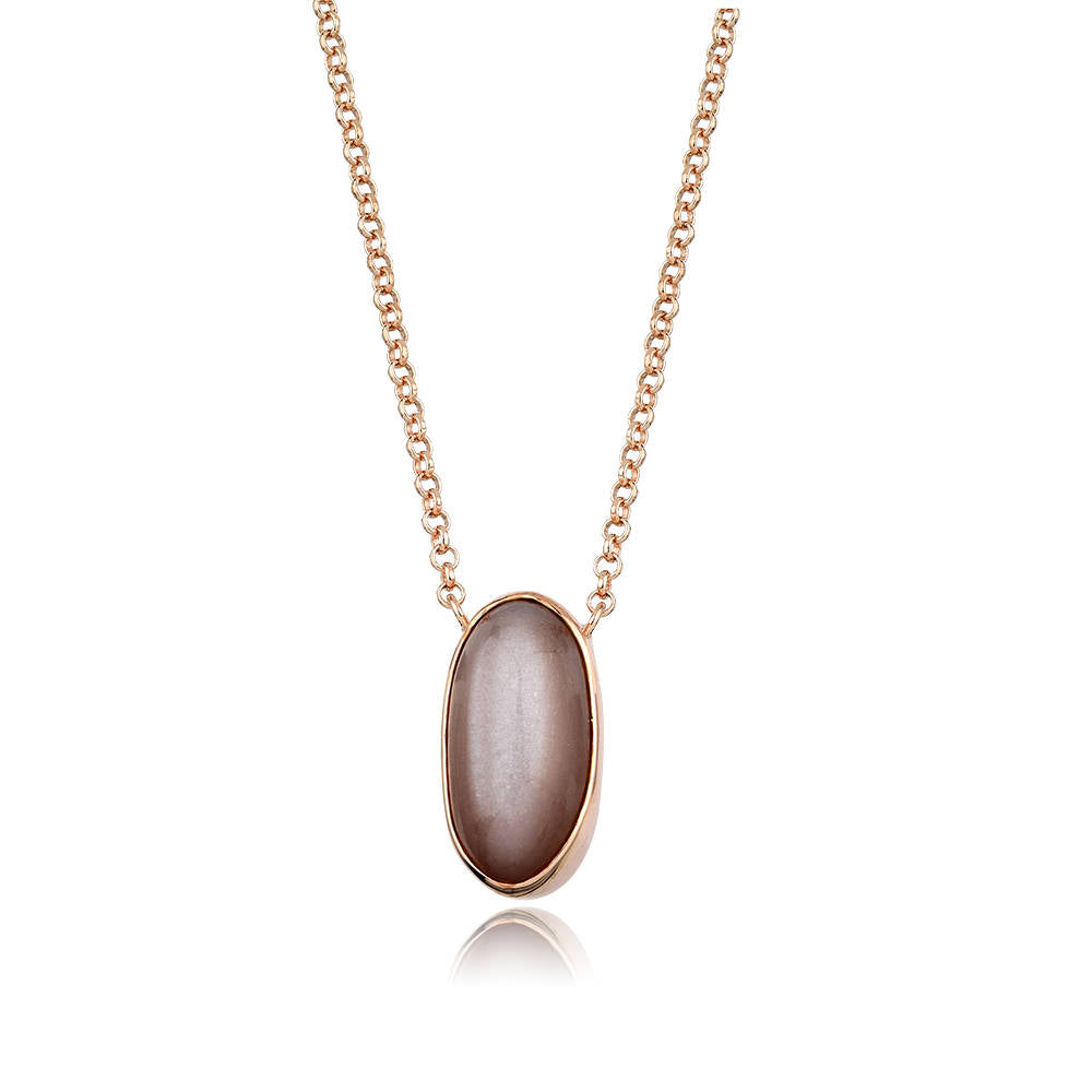 Large Brown Moonstone Silver Necklace Rose Gold Plated