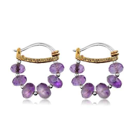 Sterling Silver Amethyst Hoop Earrings