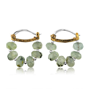 Sterling Silver Prehnite Hoop Earrings