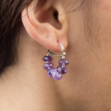 Load image into Gallery viewer, Sterling Silver Amethyst Hoop Earrings