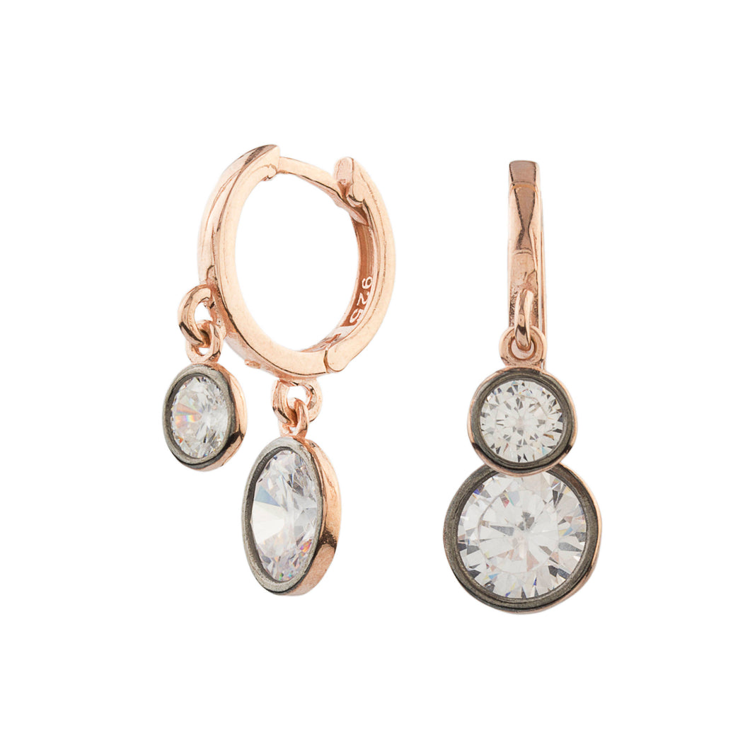 Silver Cubic Zirconia Circle Earrings