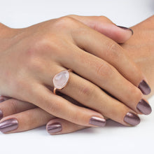 Load image into Gallery viewer, Silver Rose Quartz Ring Rose Gold