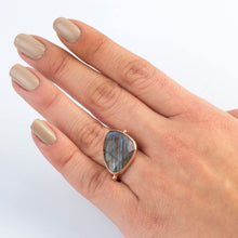 Load image into Gallery viewer, Silver Labradorite  Ring Rose Gold