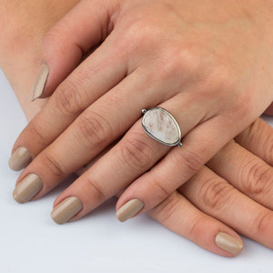 Oxidized Silver Moonstone Ring