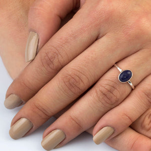 Silver Lapis Lazuli Solitaire Ring