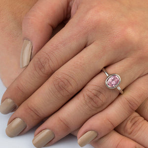Silver Pink Spinel Solitaire Ring Gift For Her