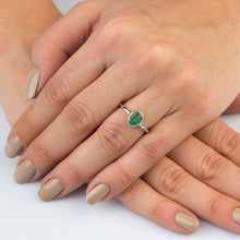 Load image into Gallery viewer, Silver Emerald Solitaire Ring