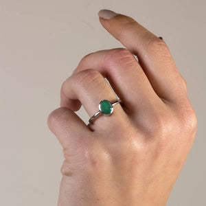 Silver Emerald Solitaire Ring