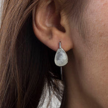Load image into Gallery viewer, Silver Flat Rainbow Moonstone Earrings