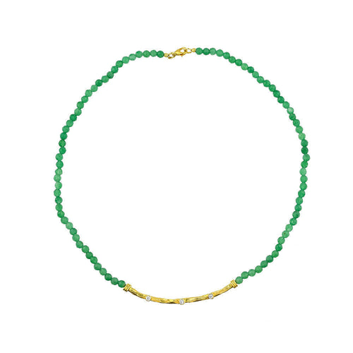 Silver Hammered Emerald Necklace