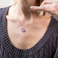 Load image into Gallery viewer, Silver Drusy Blue Chalcedony Pendant