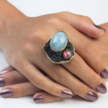 Load image into Gallery viewer, Handmade Aquamarine And Watermelon Tourmaline Ring