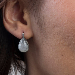 Oxidized Silver Flat Rainbow Moonstone  Earrings