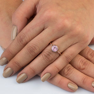 Silver Pink Spinel Solitaire Ring